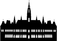 Vienna City Hall. Vector illustration of the city hall in Vienna, Austria Royalty Free Illustration