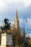 Vienna City Hall and Horse statue  Wiener Rathaus, Austria Royalty Free Stock Image