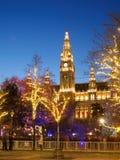Vienna City Hall with Christmas Lights Royalty Free Stock Image