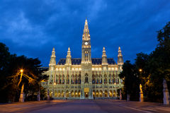 Vienna city hall in night Royalty Free Stock Photo