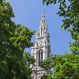 Vienna city hall. Tower seen behind green leaves Royalty Free Stock Image