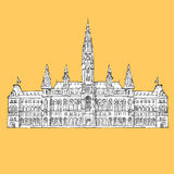 Vienna City Hall Vector Sketch Royalty Free Stock Photography