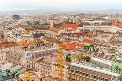 Vienna city panorama view from St. Stephan`s cathedral Austria royalty free stock images