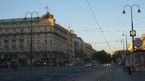 Vienna city road full of cars and people stock video