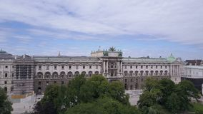 Vienna city skyline aerial shot. Aerial view of Vienna. Cathedrals and cityscape City of Vienna, Austria stock footage