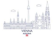 Vienna City Skyline, Austria. Vienna Linear City Skyline, Austria Stock Photo