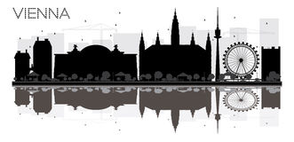 Vienna City skyline black and white silhouette with reflections. Royalty Free Stock Photography