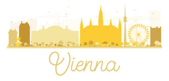 Vienna City skyline golden silhouette. Royalty Free Stock Images