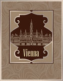 Vienna city view. Wien Rathous building. Travel Europe background. Royalty Free Stock Image
