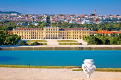 Vienna cityscape from Gloriette viewpoint above Schlossberg cast stock images