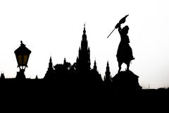 Vienna cityscape silhouette royalty free stock photos
