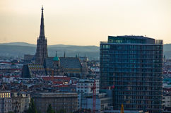 Vienna cityscape at sunset - city of thousand churches Royalty Free Stock Images