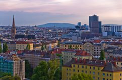 Vienna cityscape at sunset, mix of different ages, styles and colors Stock Photography