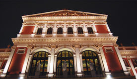 Vienna Concert Hall by night. Vienna Music Hall (Musikverein)  famous for the  New Year´s  Concerts of the Vienna Philharmonic Orchestra. Night, illuminated Stock Photography