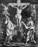 Vienna - The Crucifixion old lithography from 18. cent. by Johannes Lorenz Haid in Salesianerkirche church Royalty Free Stock Image
