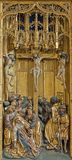 Vienna - Crucifixion panel as detail from gothic carved wings altar in Church of the Teutonic Order or Deutschordenkirche Stock Photography