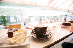 Vienna. Cup of coffe and a sacher cake Royalty Free Stock Photography