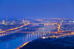 Vienna with danube at night Royalty Free Stock Photo