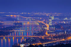 Vienna with danube at night Royalty Free Stock Photos