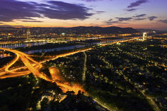 Vienna with Danube River & Island Royalty Free Stock Photo