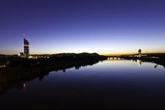 Vienna with the Danube River at night Stock Images