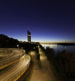 Vienna with the Danube River at night Stock Photos