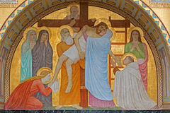 Vienna - Deposition of the cross scene over st. John of the Cross side altar by P. Verkade (1927) in Carmelites church Stock Photo
