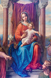 Vienna - Detail of fresco Madonna of Vienna  by Leopold Kupelwieser from 1858 in nave of Altlerchenfelder church Royalty Free Stock Photo