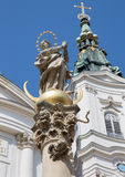 Vienna - Detail of Virgin Mary from baroque column by church Maria Treu. Stock Photography