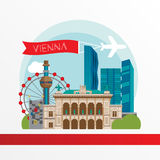 Vienna detailed silhouette. Trendy stylish colorful landmarks. The concept for a web banner. Vienna State Opera, Shpittelau incineration plant by hundertwasser Royalty Free Stock Photo