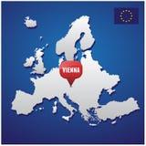 Vienna on european map Stock Image