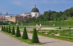 Vienna. Famous Belvedere palace and garden Royalty Free Stock Images