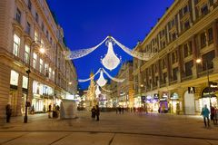 Vienna - famous Graben street at night Royalty Free Stock Photo