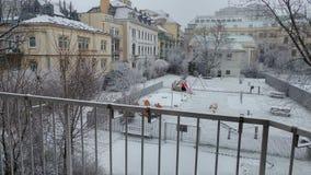 Vienna first snow 2016. Snow playground balcony Stock Images
