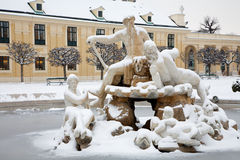 Vienna - Fountain for Schonbrunn palace and in winter Stock Image