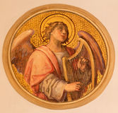 Vienna - The fresco of angel with the zither by Josef Kastner the younger from 20. cent in the church Muttergotteskirche. Royalty Free Stock Image