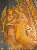 Vienna - Fresco of angels from vestibule of monastery church in Klosterneuburg Stock Photos