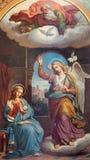 Vienna - Fresco of Annunciation scene by Karl von Blaas from 19. cent. in nave of Altlerchenfelder church Royalty Free Stock Images