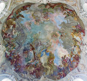 Vienna - Fresco of Assumption of Holy Mary from cupola of Baroque church Maria Treu from year 1752 - 1753 by  Franz Anton Maulbert. Sch on July 27, 2013 Vienna Royalty Free Stock Image