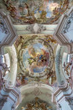 Vienna - Fresco of Assumption of Holy Mary from cupola of Baroque church Maria Treu from year 1752 - 1753 by Franz Anton Maulberts Stock Photos