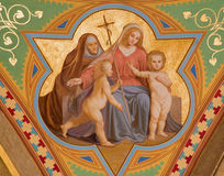 Vienna - Fresco of Madonna with the Jesus child and hl. Elizabet and little st. John the Baptist from 19. cent. in Altlerchenfelde Stock Photography