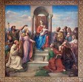 Vienna -  Fresco of Madonna of Vienna  by Leopold Kupelwieser from 1858 in nave of Altlerchenfelder church Stock Photo