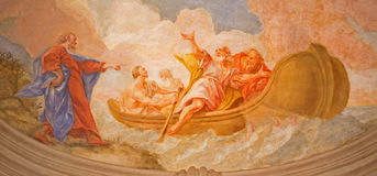 Vienna - Fresco of miracle fishing from ceiling in vestibule of baroque st. Peter church or Peterskirche Royalty Free Stock Images