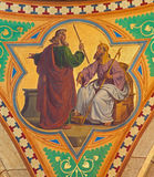 Vienna -  Fresco of Moses for the Pharaoh scene from 19. cent. in Altlerchenfelder church Royalty Free Stock Images