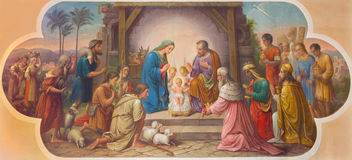 Vienna - Fresco of Nativity scene by Josef Kastner the older from 20. cent. in Erloserkirche church. Royalty Free Stock Photography