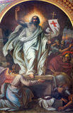 Vienna - Fresco of Resurrection from 19. cent. in Altlerchenfelder church Royalty Free Stock Image