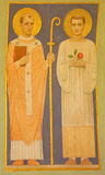 Vienna - Fresco of the saints Cyril and Methodius by P. Verkade (1927) from side altar in Carmelites church in Dobling. Stock Photo