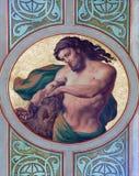 Vienna - Fresco of Samson in side nave of Altlerchenfelder church Stock Photos