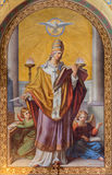 Vienna - Fresco of st. Gregory by Leopold Schulz from year 1856 in Altlerchenfelder church Royalty Free Stock Images