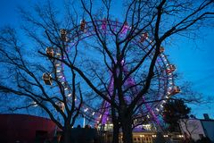 Vienna Giant Wheel Illuminated Royalty Free Stock Photos